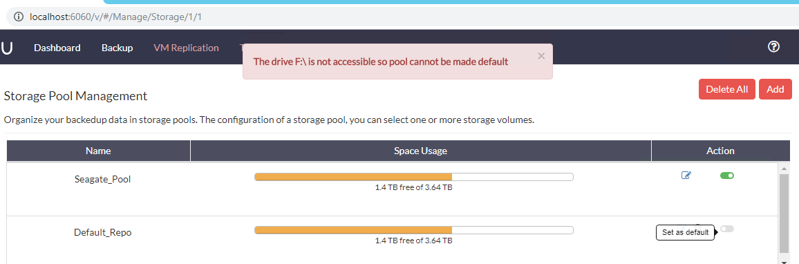 Error when making the Default_Repo the default storage pool using the toggle button: