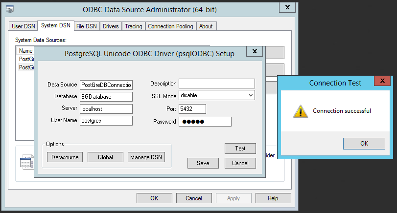 Test Database Connectivity from 64-Bit ODBC connector
